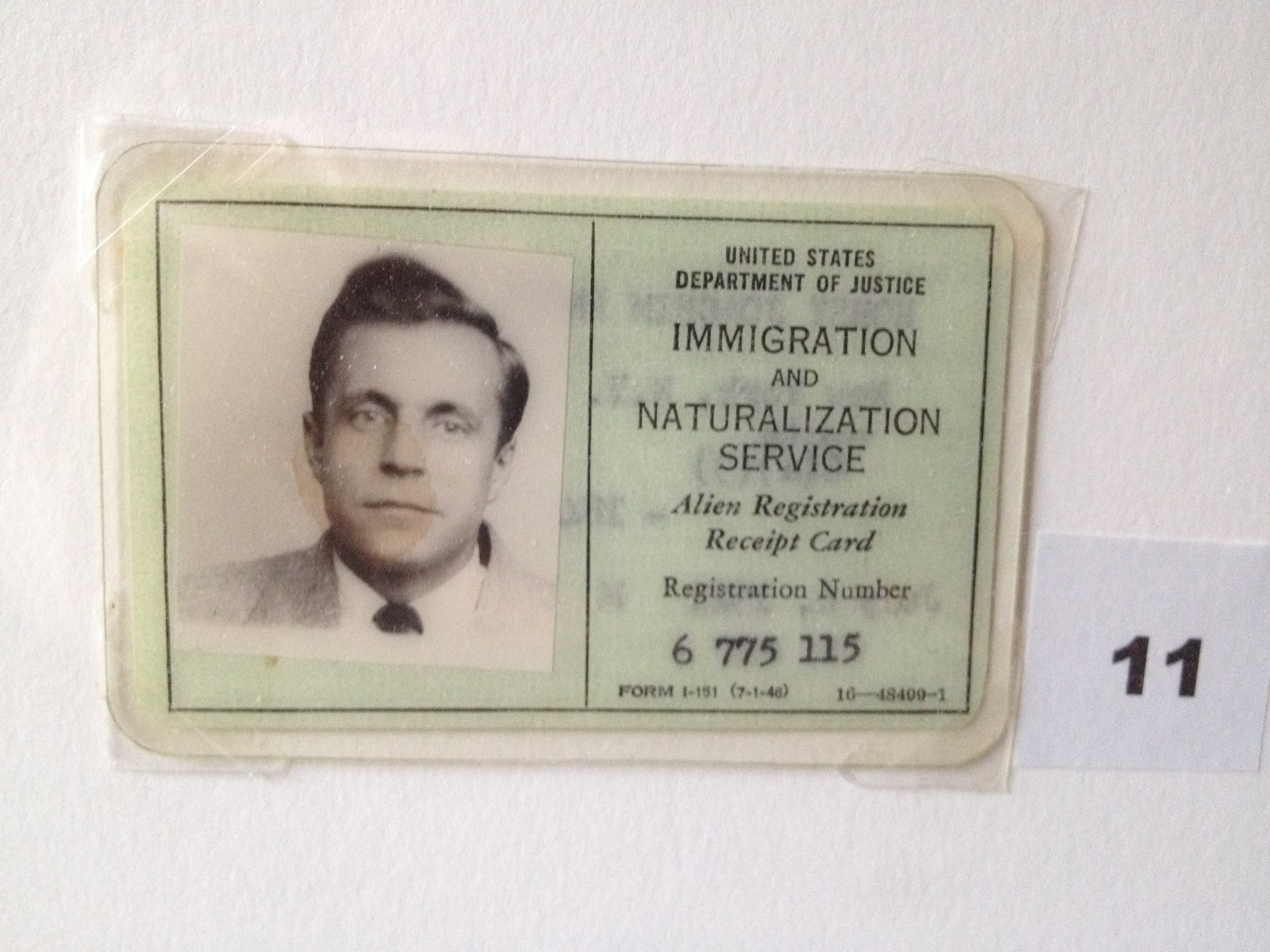My father's green card, upon entering the United States.