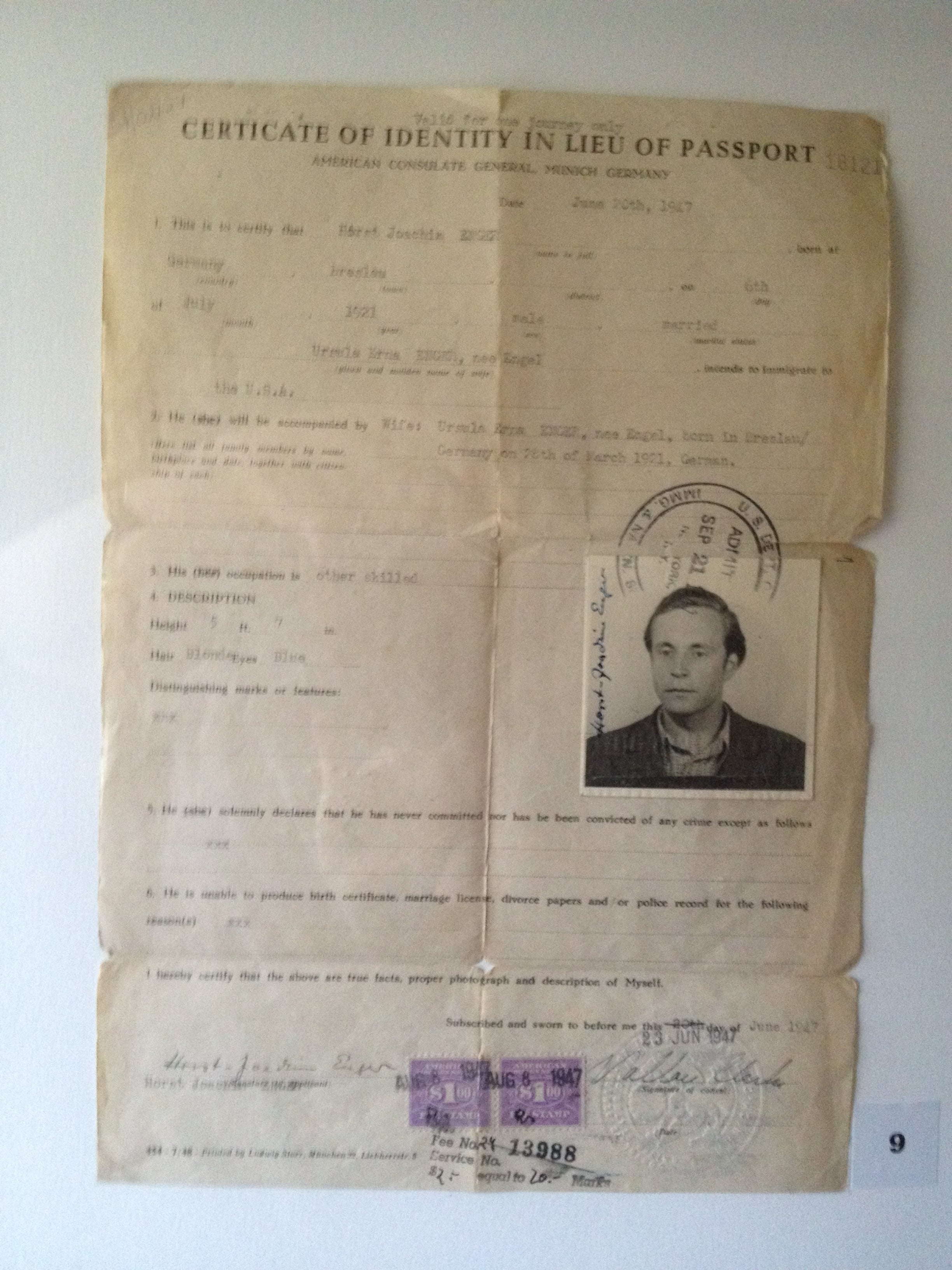 My father's immigration certificate, from entering the U.S.