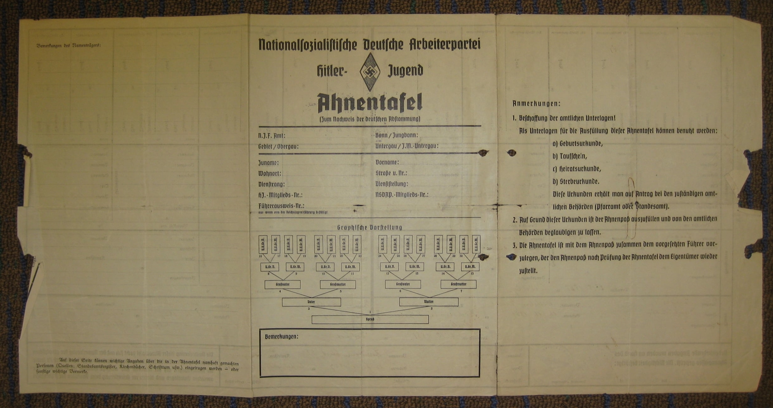 Ahnentafel - Nazi document listing my family tree and lineage for three generations. This one belonged to my Aryan grandfather, Hermann Kurt Enger.