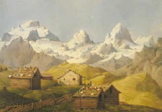 Drawing of the Alps by Felix Mendelssohn