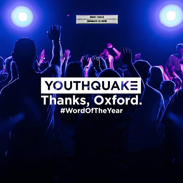 """[WORD OF THE YEAR] - Thank you Oxford Dictionaries (@oxforddictionaries) for naming """"youthquake"""" as the #WordOfTheYear for 2017. • """"An amalgamation of 'youth' and 'earthquake,' the noun is defined as """"a significant cultural, political, or social change arising from the actions or influence of young people."""" • God is moving like never before through the youth of this generation and we believe the wave starts with them. Culture is shifting because of the influence of young people. We're not much into politics, but we are affiliated with the kingdom of God ruled by Jesus of Nazareth. And social change? We're seeing this generation step up like never before with an actionable heart to see their world change for the better. • Our ministry has carried the name """"YouthQuake"""" for 20 years because of the conviction that young people can shake and shift culture for the glory of God. YouthQuake Conference was started with that same vision in mind. There is no greater investment than the next generation. Whoever has the heart, attention, and passions of youth will change the world. We started with one student at a time in Burlington, NC and now we're reaching beyond our boundaries. Thank you for being part of the movement! • Read more about the origin of the word """"youthquake"""" and why it was selected at the link in our bio. Thanks, Oxford. #OxfordComma #SeeWhatWeDidThere? #YouthQuake #YQConference"""