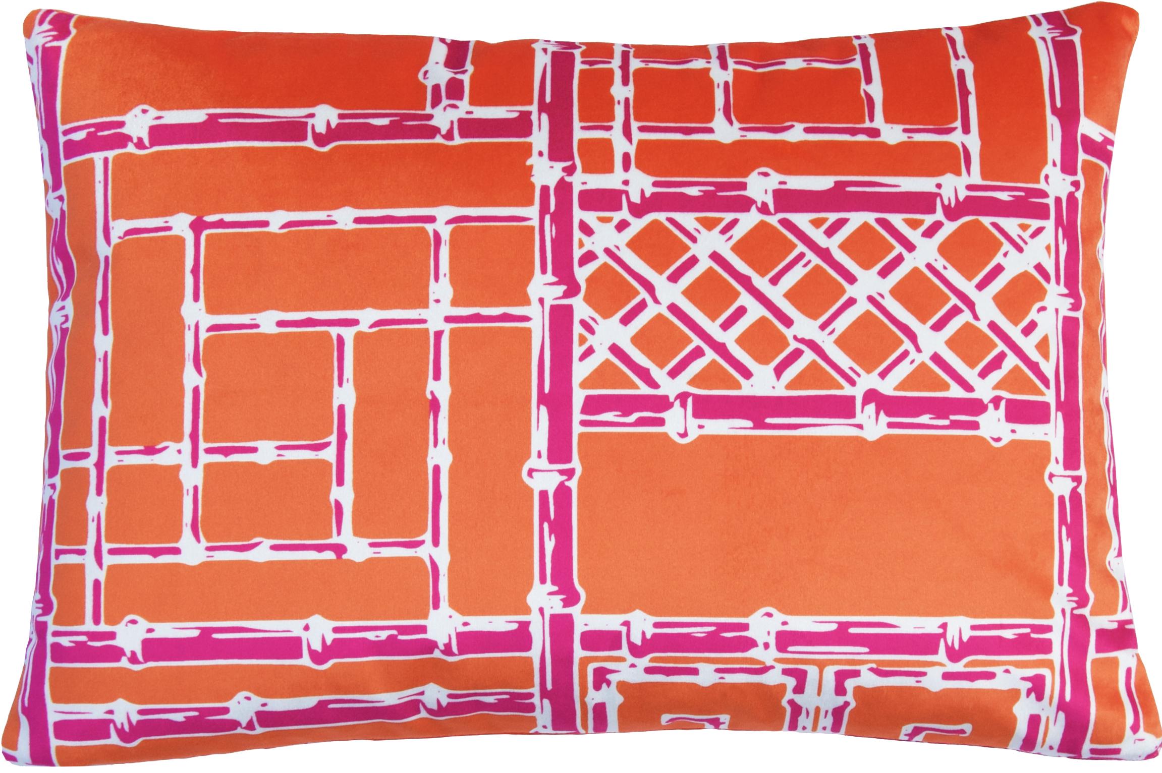 Bamboo Fretwork Lumbar_OrangeRaspberry_Velvet.jpg