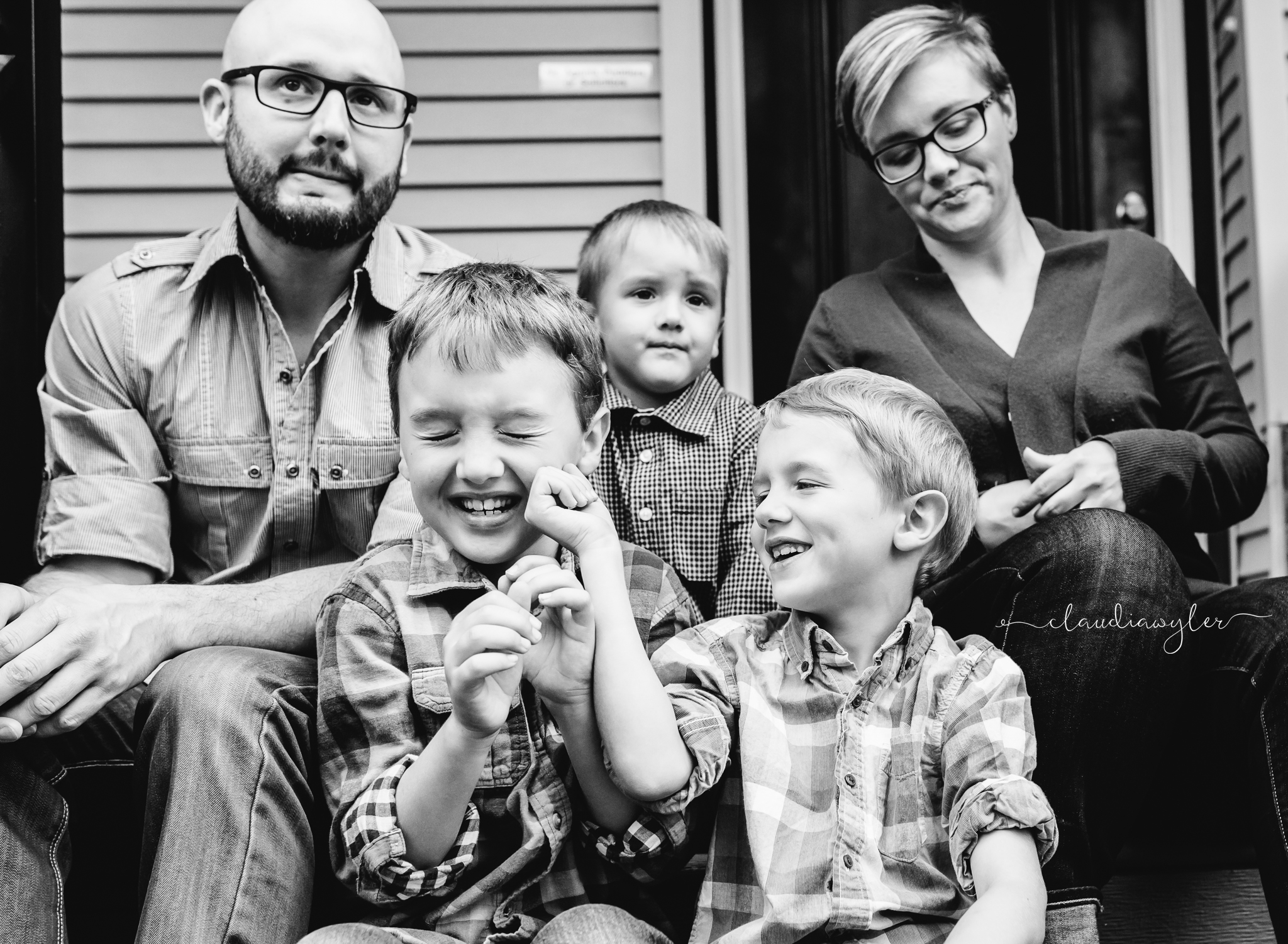 Family photograph on front porch in Langley, BC
