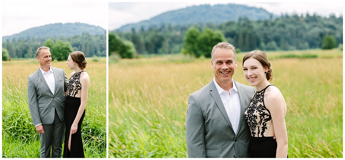 abbotsford-british-columbia- prom photographer- graduation-photographs- father and daughter- prom pictures grass field- claudia-wyler-photography