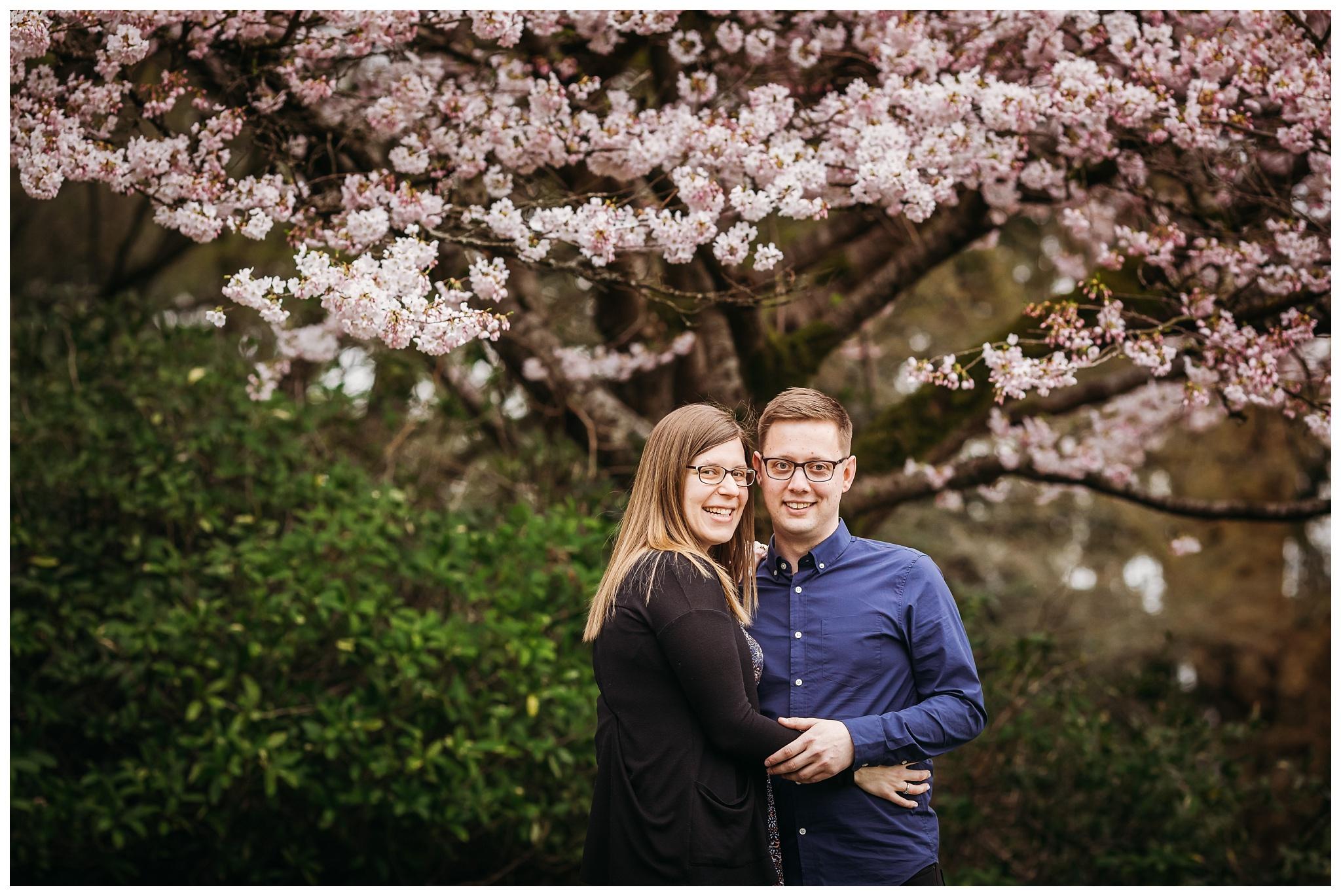 Queen Elizabeth Park Spring Engagement Photography Cherry Blossom Photos Couple Romantic_0002.jpg