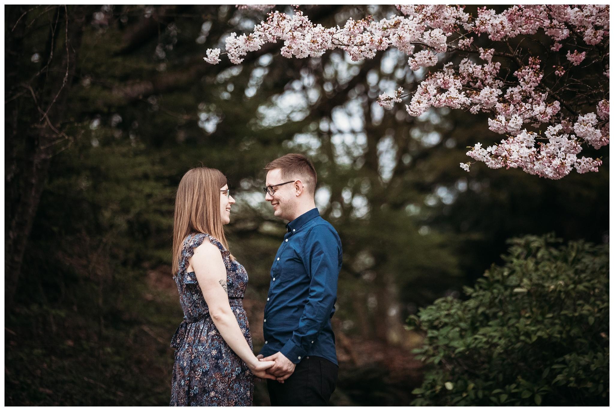 Queen Elizabeth Park Spring Engagement Photography Cherry Blossom Photos Couple Romantic_0011.jpg