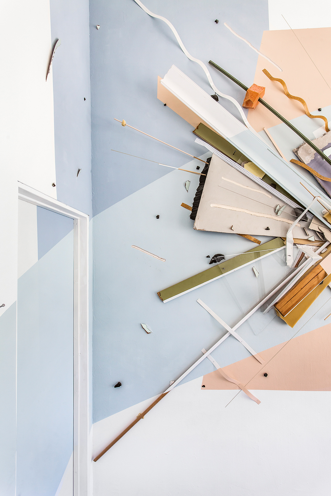 Broadcast  (detail)  264 x 156 x 22in  Acrylic, wood, ceiling tiles, foam, drywall, plexiglass, nails, laminate, rocks, and plastic on wall (Installation view at Locust Projects, Miami. Image courtesy of Zack Balber with Ginger Photography Inc.)  2016