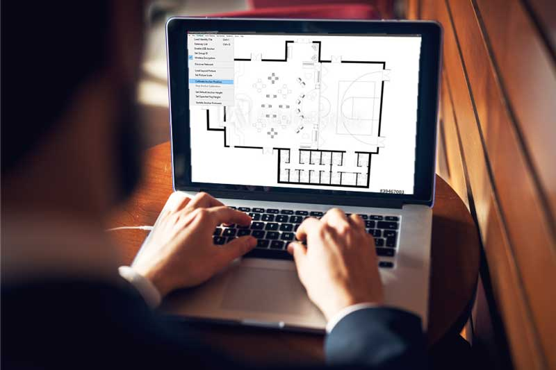 WISER's asset tracking software calibrating to fit a floor plan.