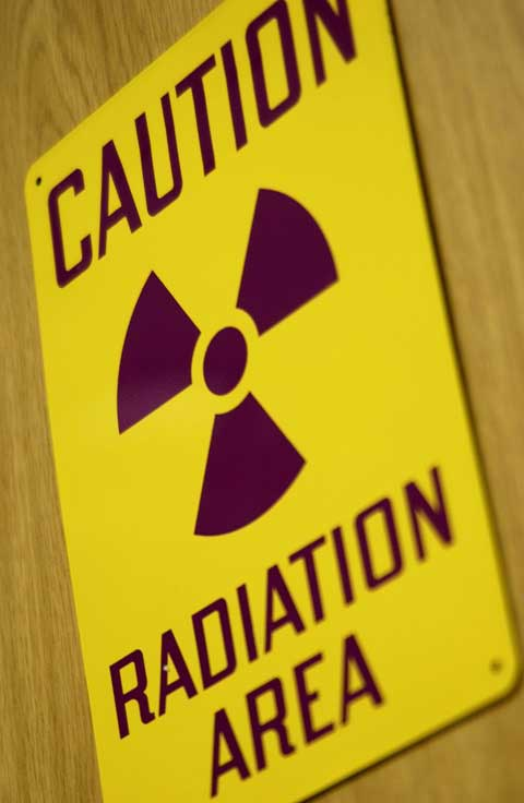 A radiation warning sign.