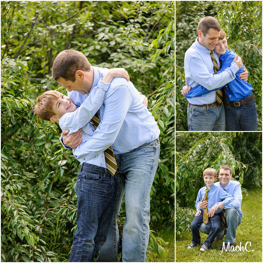 a dad and his boys getting pictures together at the botanical gardens