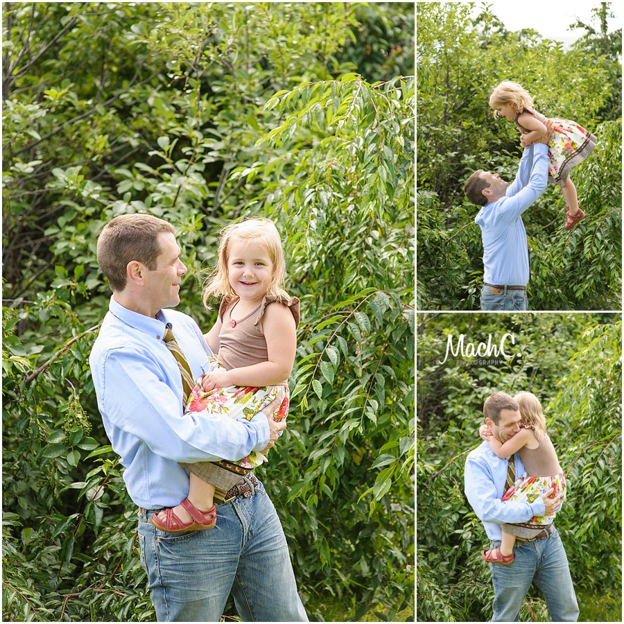 dad throwing little girl up into the air - hugs and joy all around! fun family pictures