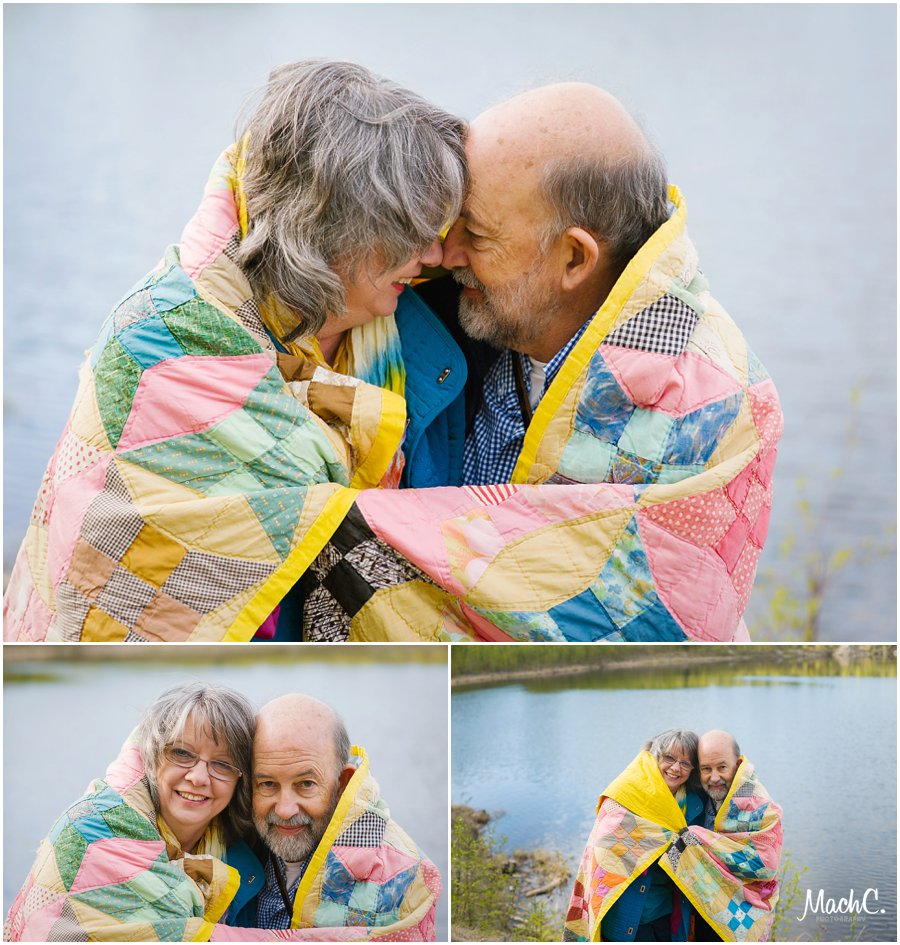 beautiful couple in love by the lake