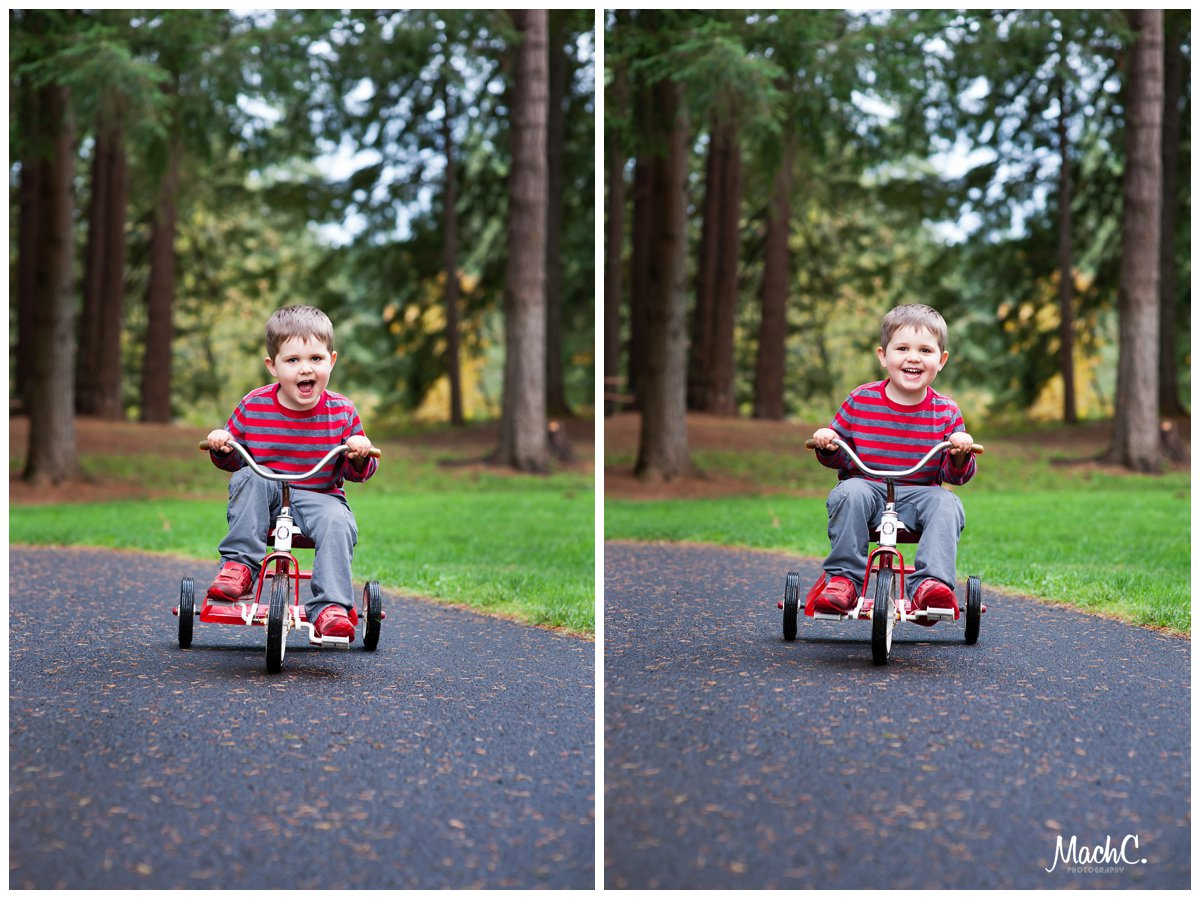 a 3 year old boy and a red tricycle - what more could you ask for in the perfect photo op