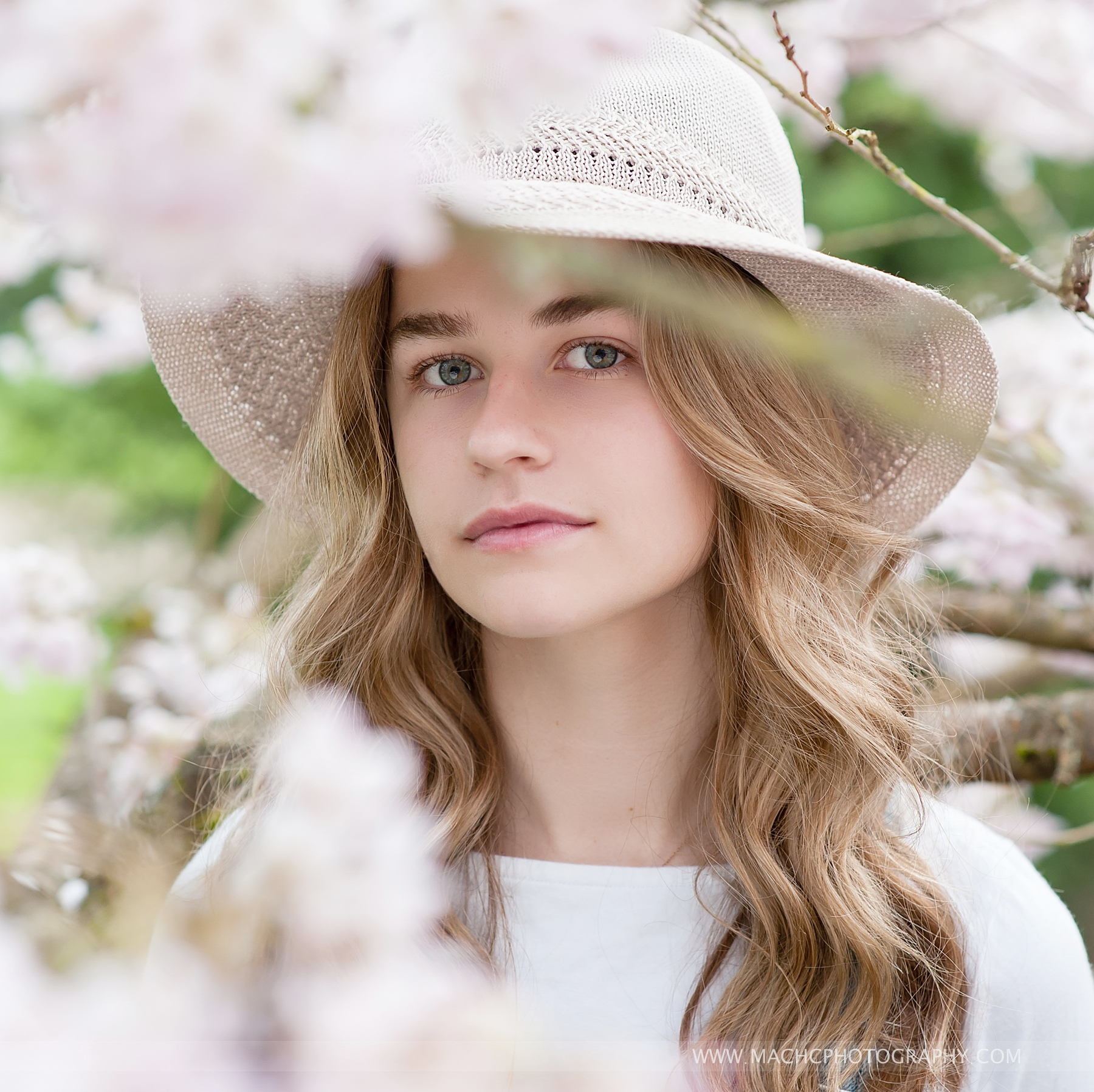 stunning elegant Senior Picture, portrait of a senior girl in spring cherry blossoms