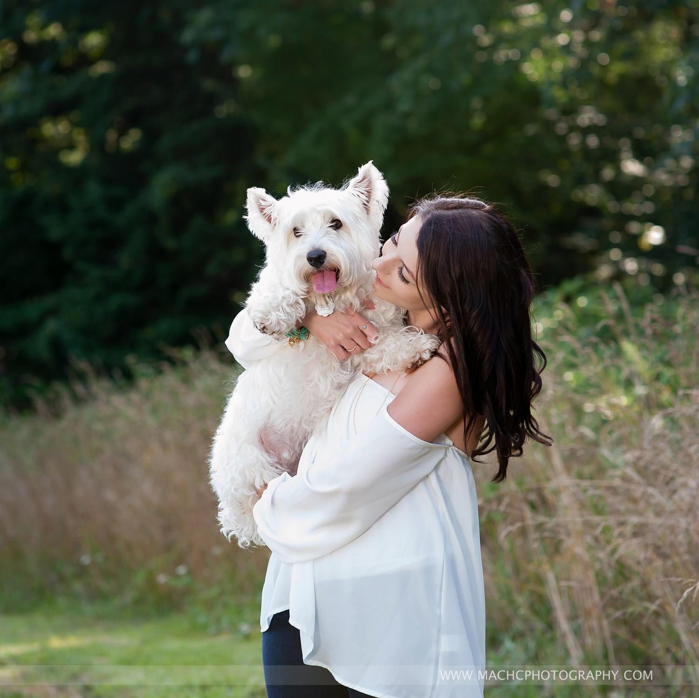 senior with her dog