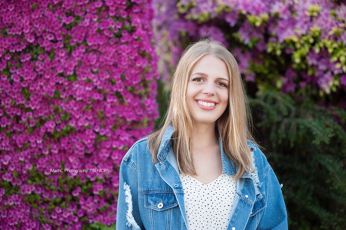 LOVE the bright blooms we get to experience in Camas - perfect for Senior Portraits.