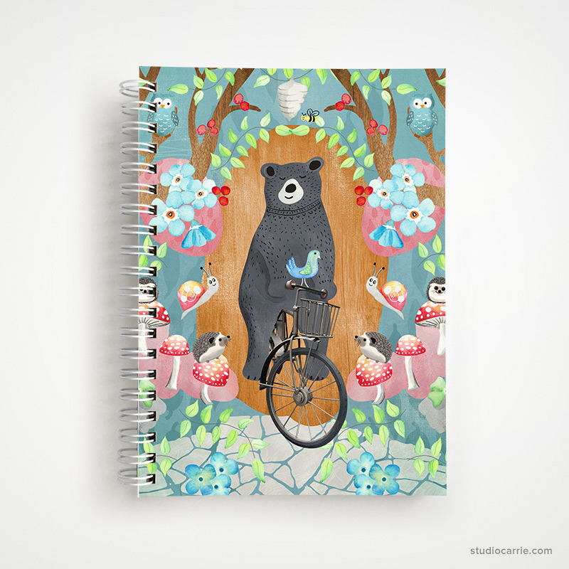 Bicycle Riding Bear Notebook by Studio Carrie