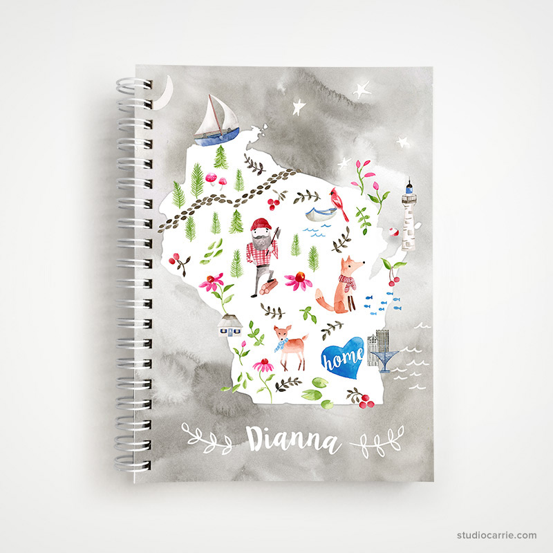 Custom Wisconsin Home Collage Notebook by Studio Carrie