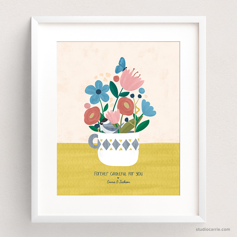 Custom Forever Flowers Art Print by Studio Carrie