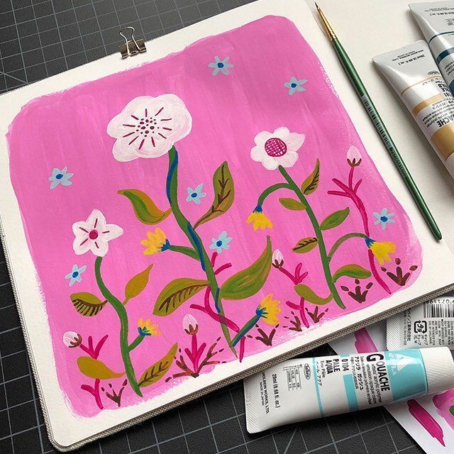 Currently dreaming of Spring. Also, treated myself to some yummy new paints. #paintsketch  #sketchbook #illustrator #painting #floralart #livecreatively #studiocarrie
