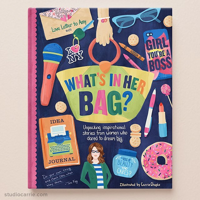 My cover illustration for my first #matsbootcamp2018 assignment is done! I imagined this concept children's book to be full of real stories from famous women to inspire young girls to follow their passions. It's inspired by Tina Fey and her success in becoming the first female head writer for Saturday Night Live. It's a book I wish I had growing up. #doyourthing  #matsbootcamp #illustration #createeveryday #tinafey #kidlitart @makeartthatsells #makeartthatsells #whatsinmybag #studiocarrie