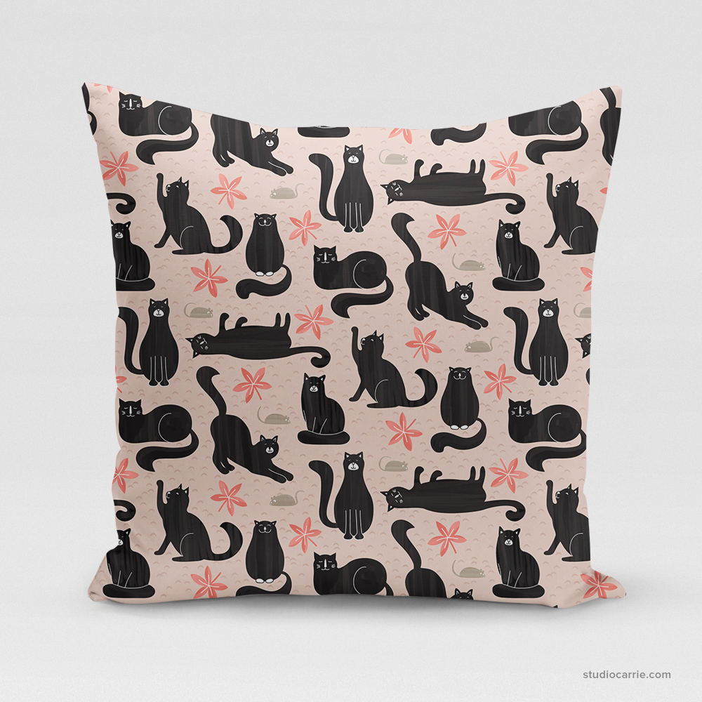 Cool Cats Square Pillow by Studio Carrie