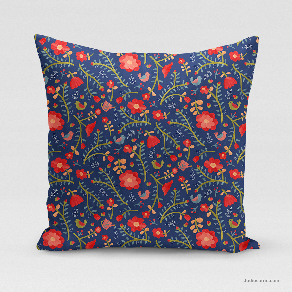 Rose Tree Flower Square Pillow by Studio Carrie