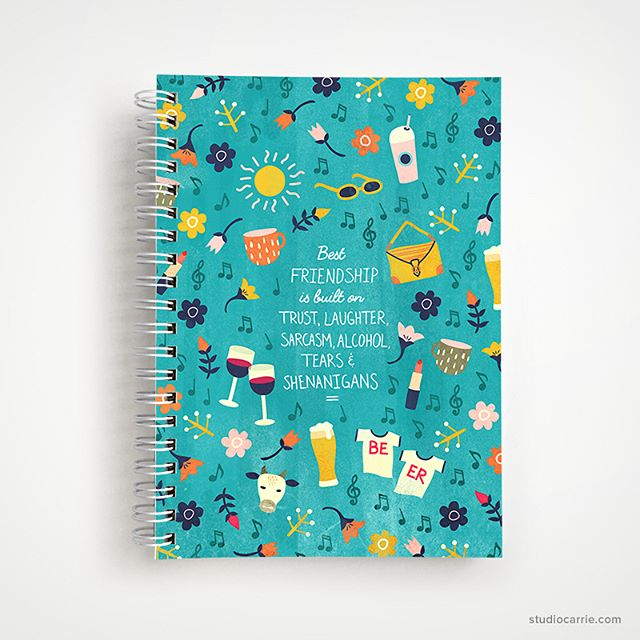 "Newest notebook in the shop, it's inspired by the type of friend who makes you laugh so hard you cry, you know the one. 🤣 ""Best friendship is built on trust, laughter, sarcasm, alcohol, tears and shenanigans."""