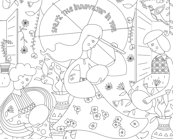 Download a coloring page  and color your own innovation!