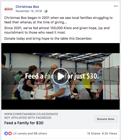 Social Conversions - This video ad had a CTR of 2.02% producing 389 donations and reaching 15,511 unique people. It was also shared 19 times and generated over 6,000 views.