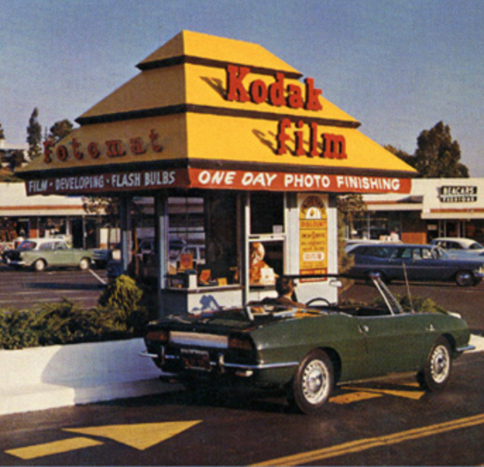 Old time fotomat and a cool car