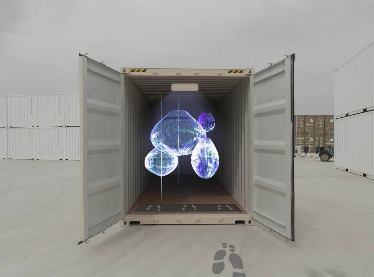 A shipping container from The Performance Arcade.