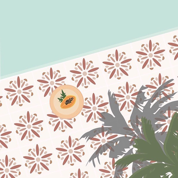 Poolside Papaya 🏝 #breleighdesigns . . . . . . #art #instaart #illustrations #illustration #digitalart #artist #wacom #wacomintuos #graphicdesign #graphicdesigner #freelancegraphicdesigner #papaya #pool #vacay #poolside #palm