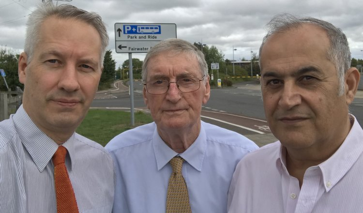Gideon Amos (left) with Cllrs Alan Wedderkopp (centre) and Habib Farbahi (right) at one of the park and ride sites