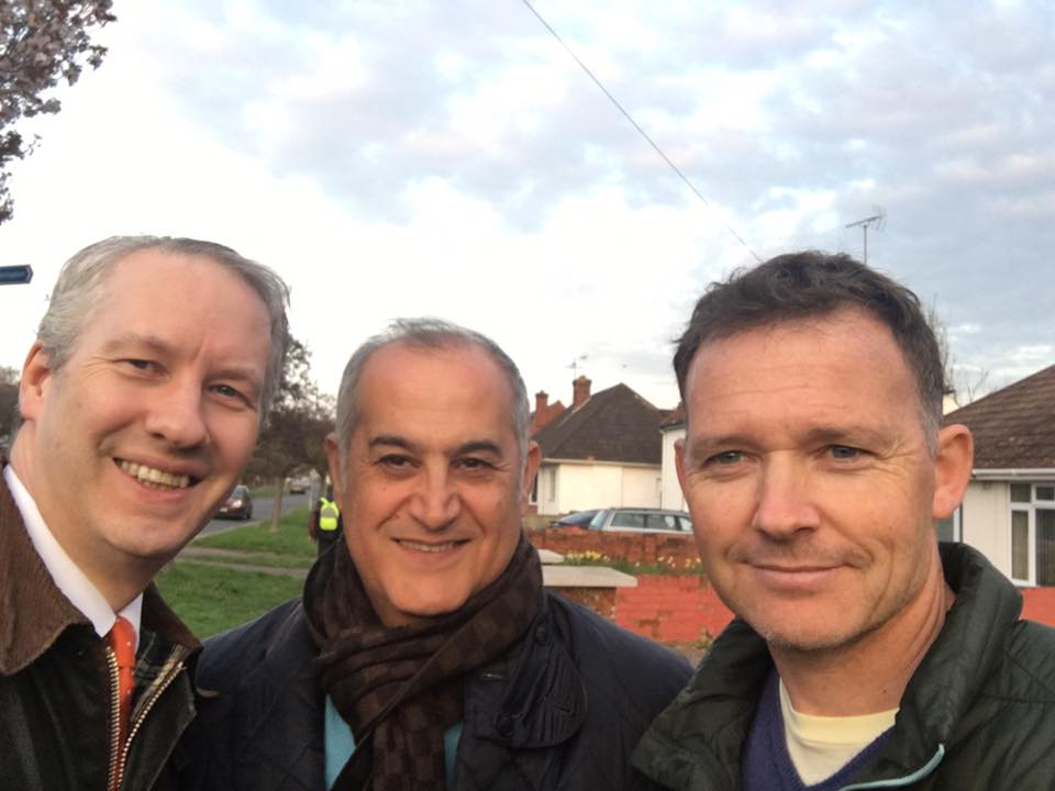 Cllr Habib Farbahi (middle), with Simon Nicholls (right) and Prospective Parliamentary Candidate Gideon Amos (left)