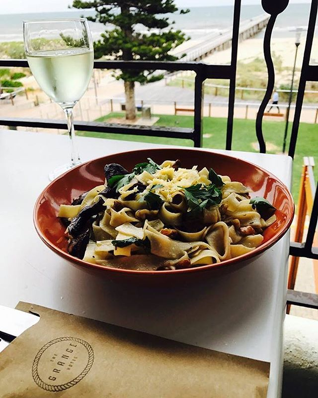 Start your week right with an irresistible bowl of pasta and a wine for just $15 *Available every Monday // 489 Esplanade Grange #mondaysarentsobad #grangehotel #grange #beach #seaside #food #pasta #delicious #summer #views #yum
