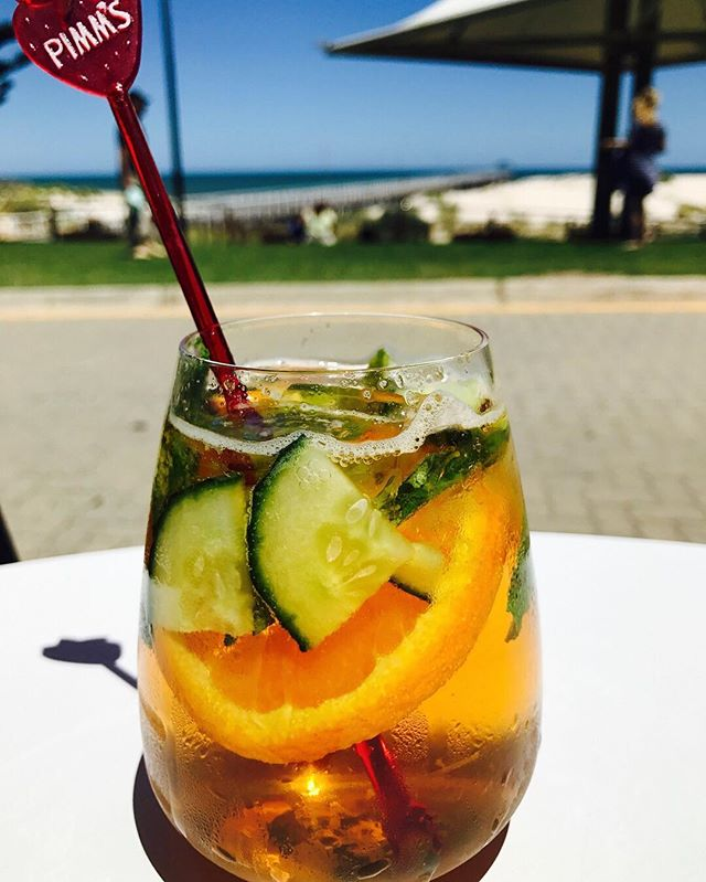 From 5pm at The Grange Hotel, Christmas break up drinks by the seaside are now in order! #thegrangehotel #grange #hotel #beach #sea #seaside #southaustralia #Adelaide #drink #pimms #cocktail #delicious #summer #fresh #fruit #christmas #chissy #knockoffs