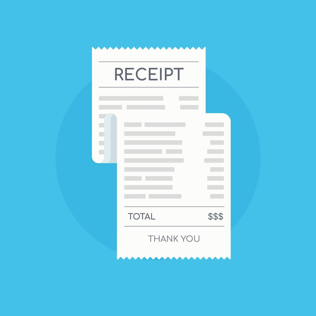 Personal expense receipt