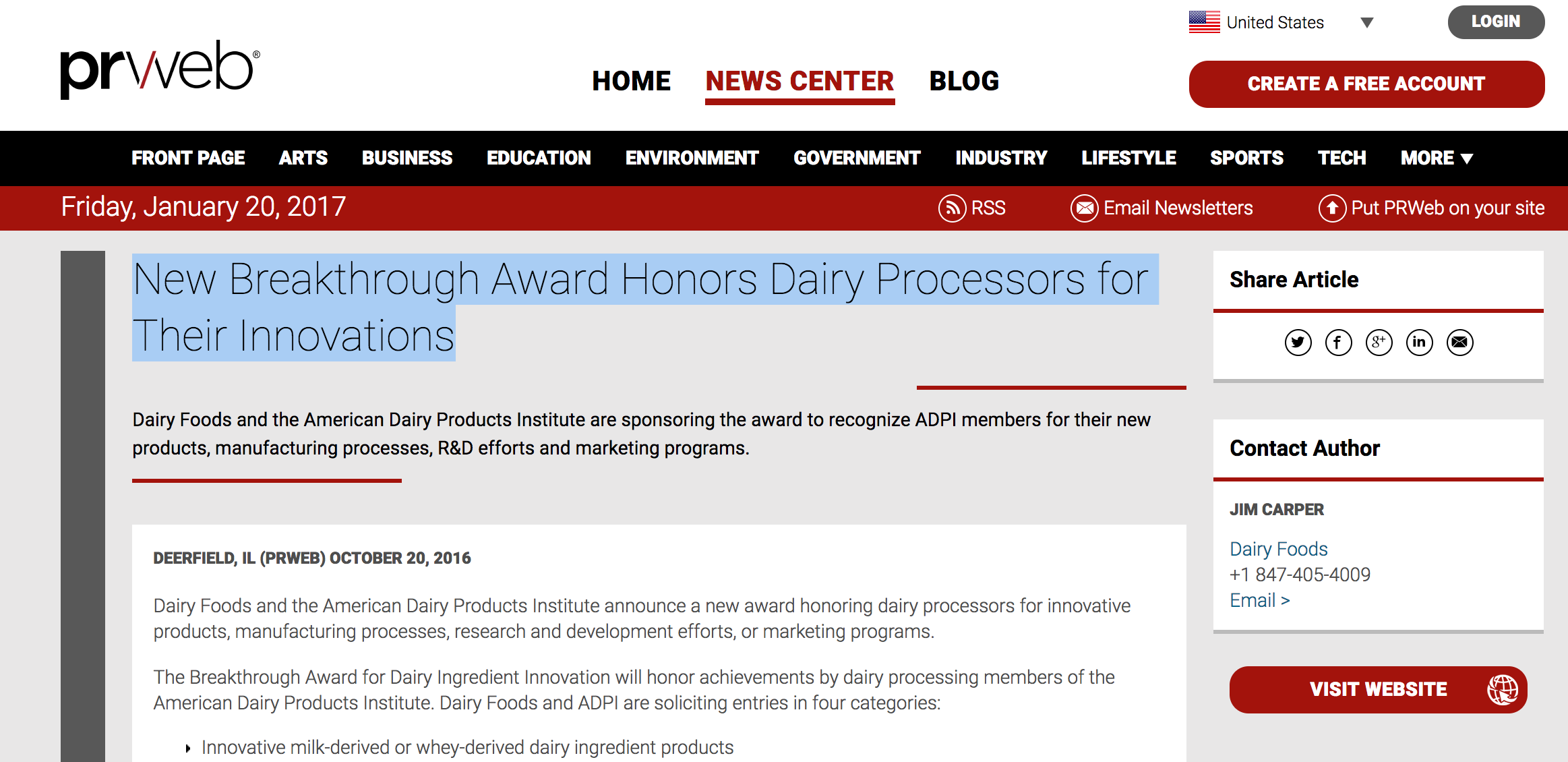 New Breakthrough Award Honors Dairy Processors for Their Innovations.