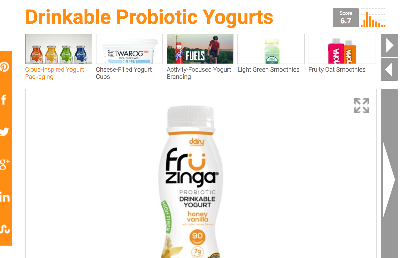 Drinkable Probiotic Yogurts.
