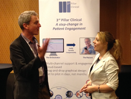 Diarmuid Quinn with Olive O'Connor of  MediStori . Like Olive, 3rd Pillar Clinical also believes that paper continues to play an important role in Patient Engagement.