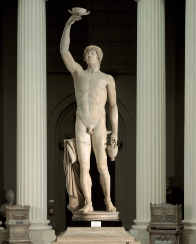 Figure 1. Second-century AD statue of Antinous restored c. 1795 as Ganymede, from the Lady Lever Gallery at Port Sunlight. Parian Marble. The statue measures 2.33 m from the base of the pedestal to the top of the cup. Courtesy of National Museums Liverpool.
