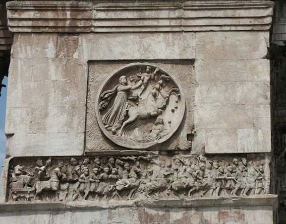 Fig. 3 Arch of Constantine, east side with section of Constantinian frieze and roundel.