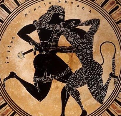 Scene from interior of an Attic black-figure kylix, c. 550BCe. Toledo Museum of Art.