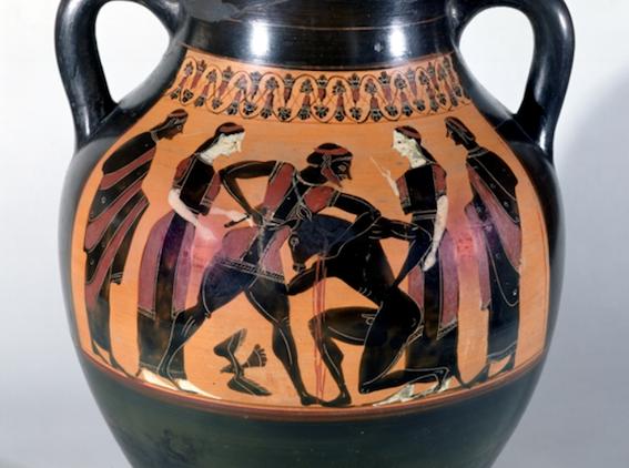 Figure 5. Theseus and the Minotaur. Black-figure Attic amphora, c. 540 BCE. Louvre, Paris.