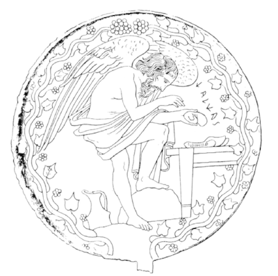 Fig. 4. Bronze mirror showing mythical haruspex Calchas, from Vulci, ca. 400 BCE. Vatican Museums. Drawing used with the kind permission of Nancy de Grummond.