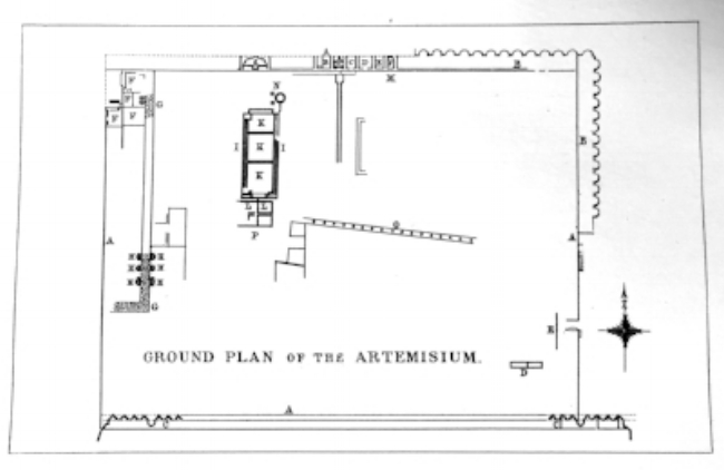 Fig. 5. Plan of the sanctuary of Diana at Nemi. Photograph from G. H. Wallis, Illustrated Catalogue of Classical Antiquities from the Site of the Temple of Diana, Nemi, Italy (Nottingham, 1893).
