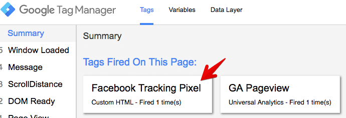 preview facebook tracking tag