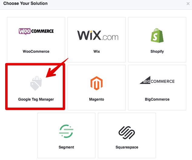 select google tag manager as integration solution