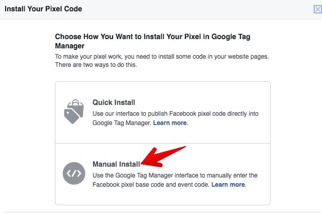 select manual pixel installation